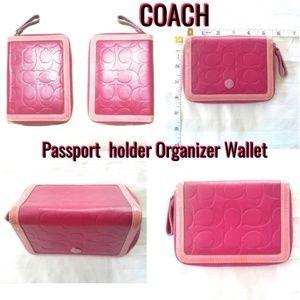 Coach Pink Cell Wallet Passport holder Organizer